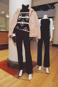 Teflon-treated Max Mara and Prada outfits.