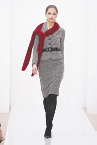 Ann Taylor's look for fall: a houndstooth jacket, $198; a skirt, $98; a belt, $48; pumps, $118.