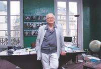 Pierre Cardin in his office.