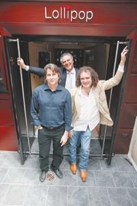 David Rockwell, Vittorio Assaf and Fabio Granato in front of Lollipop.