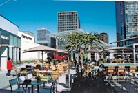 The dining terrace at Westfield Century City offers table service and real china and silverware in lieu of plastic.