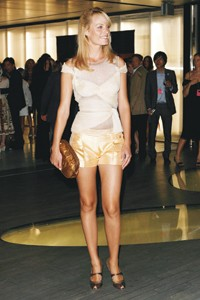 Amber Valletta in Prada at the Prada store.