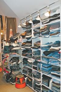 Shelves of jeans.