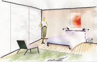 The lobby and the Bristow room in Hotel Ralph Pucci. Room renderings by Robert Bristow and Pilar Proffitt. Chambermaid and bellman uniform renderings by Tomer.