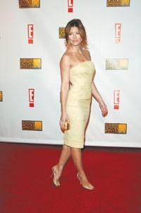Jessica Biel in Ferragamo at the Critics' Choice Awards.