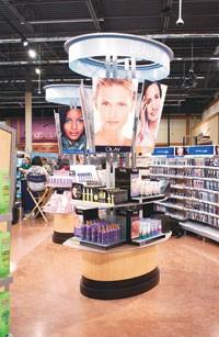 Display towers and curved aisles at Neighborhood Market at Wal-Mart.
