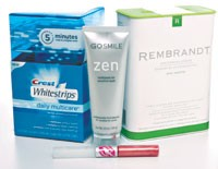 Teeth whitening's many forms: Crest Whitestrips Daily Multicare, GoSmile Zen Toothpaste, Sexy Smile lip gloss and Rembrandt Whitening Strips.