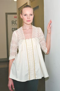 A cotton and lace top.