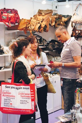 Shopping the China Sourcing Fair: Fashion Accessories exhibit.