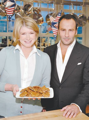 Martha Stewart and Tom Ford with the designer's down-home desserts.