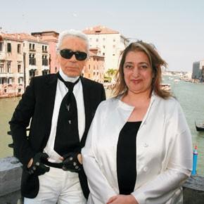 Karl Lagerfeld and Zaha Hadid