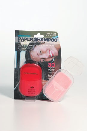 Paper Shampoo melts when it hits water.