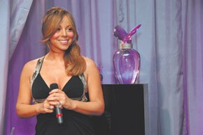 Mariah Carey at her scent event Monday.