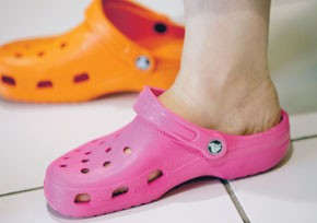 Some 1.2 million pairs of Crocs were sold last year in Israel. Here, the Beach model crocs.