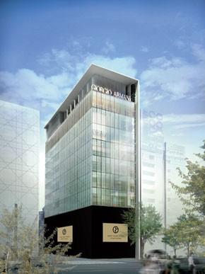A rendering of Giorgio Armani's Armani/Ginza Tower.