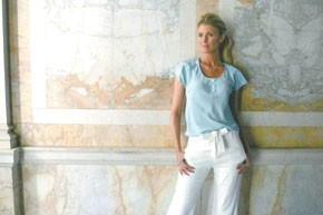 Porter Grey's silk blouse and linen pants.
