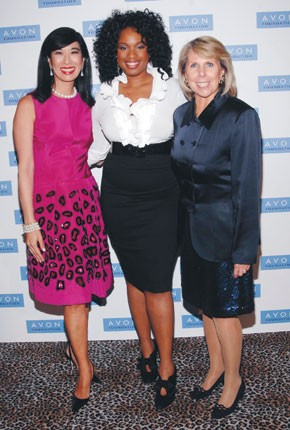 Andrea Jung with Jennifer Hudson and Carol Kurzig.