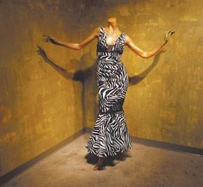 A silk print dress by Nicole Miller.