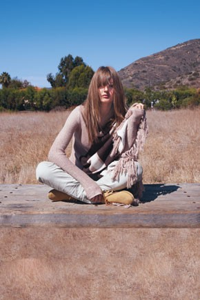 Ya Ya Aflalo's linen wrap sweater and jeans from Converse by John Varvatos; Minnetonka moccasins.