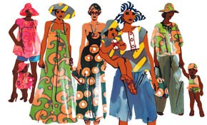 An illustration of the H&M collection using Marimekko prints