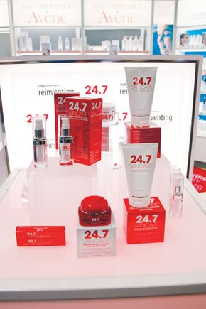 A display of CVS' exclusive 24.7 Skincare line.