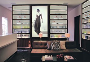 The Salon's lounge and retail alcove.