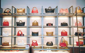 Handbags on display.