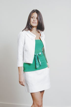 Sele's cotton jacquard skirt and jacket with a cotton top.