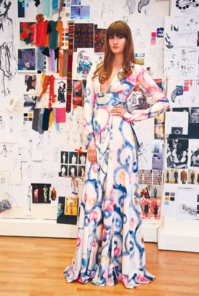 A dress hand-painted by Gur.