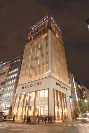 The new 10-story Bulgari tower in Ginza.