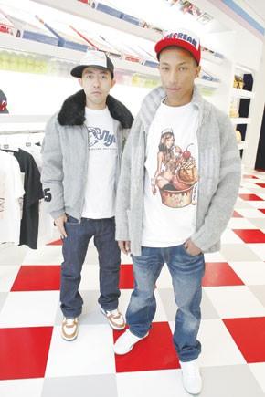 Nigo with Pharrell Williams at the SoHo store.