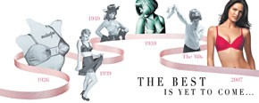 "Invista's billboard at Times Square features a time line of Maidenform bras, celebrating ""100 Years of the Bra."""