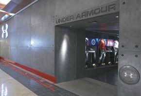 Under Armour's store evokes a sports stadium.