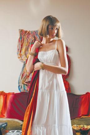 Hanky Panky's cotton slipdress. Shawl from Barbara Flood's Closet.