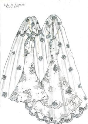 Lulu de Kwiatkowski's wedding gown by Alvin Valley.