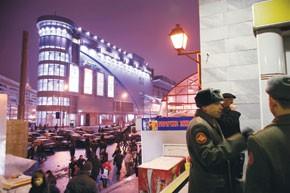 The glitzy European Center gleams amid a seedy downtown neighborhood.