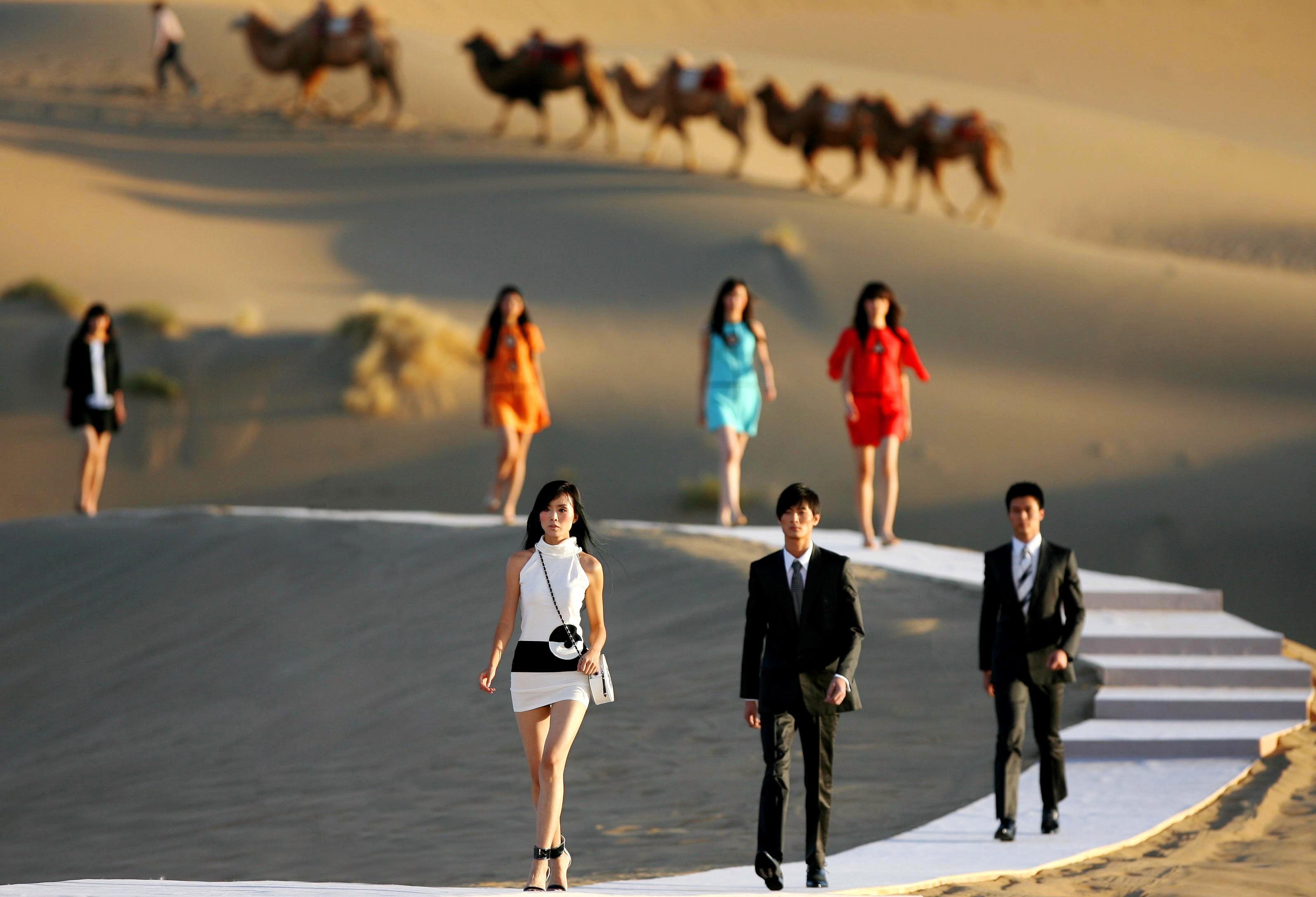 Pierre Cardin show in Dunhuang
