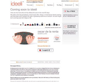 Ideeli.com, a new social networking site, offers luxury goods at discounts or even for free.