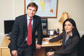 Al Jazeera English's Washington bureau chief Will Stebbins and anchor Ghida Fakhry.