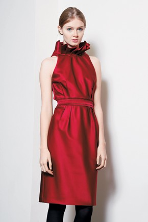 Carmen Marc Valvo silk satin cocktail dress