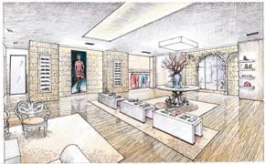 A rendering of Oscar de la Renta's South Coast Plaza store.