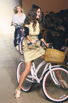 Cynthia Rowley's models cycling down the spring runway.