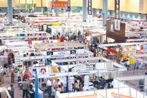 Buyers scour Material World for new fabrics and textiles.