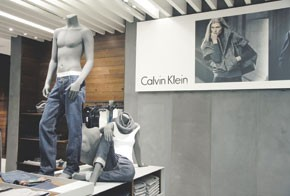 The interior of Calvin Klein at Beverly Center.
