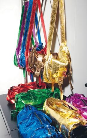 Stephane Verdino patent leather bags.