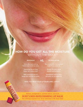 One of two Burt's Bees ads appearing in March beauty magazines.