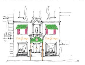 A sketch of the Lilly Pulitzer flagship opening at 1020 Madison Avenue in May.