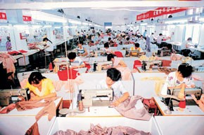 Workers at a privately owned textile factory in China.