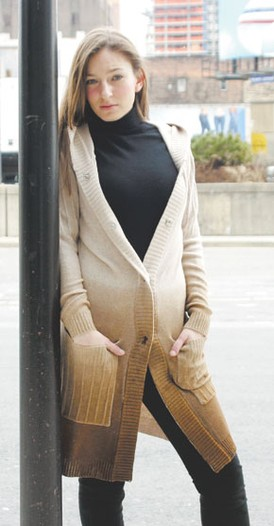 Ombre looks sold well at Moda, like Ava's fall sweater jacket.