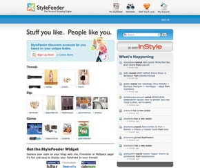 The StyleFeeder home page.